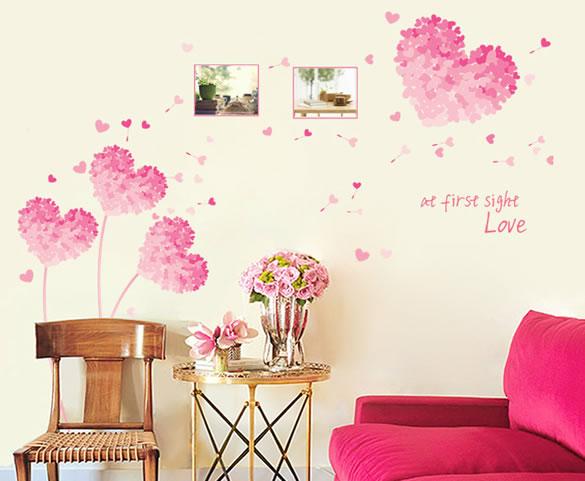 可移除浪漫桃心墙贴画