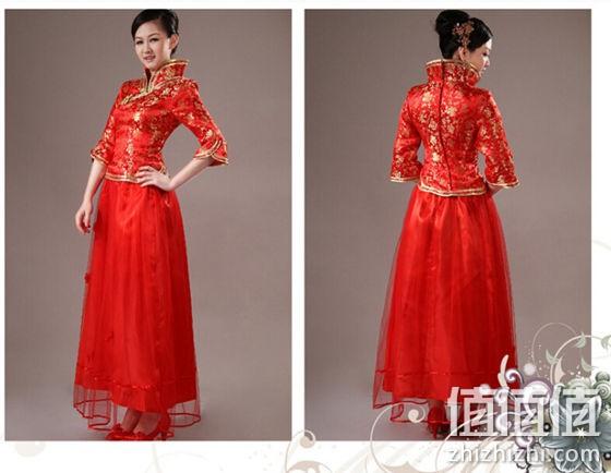 新娘 红色旗袍结婚礼服图片