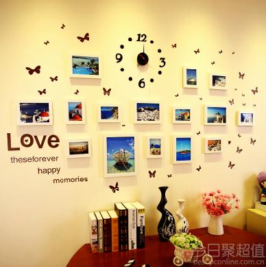 文艺范:实木照片墙15框挂钟组合