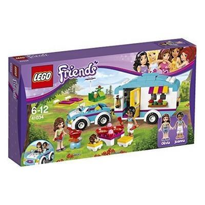乐高夏季野营车,有汽车,房车和两个人偶和丰富的野营用具
