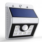 室外照明我最强!Litom 明亮8LED 室外照明灯 太阳能供电 防水 3种智能感应 美国亚马逊价格$14.99,海淘凑单到手约100元