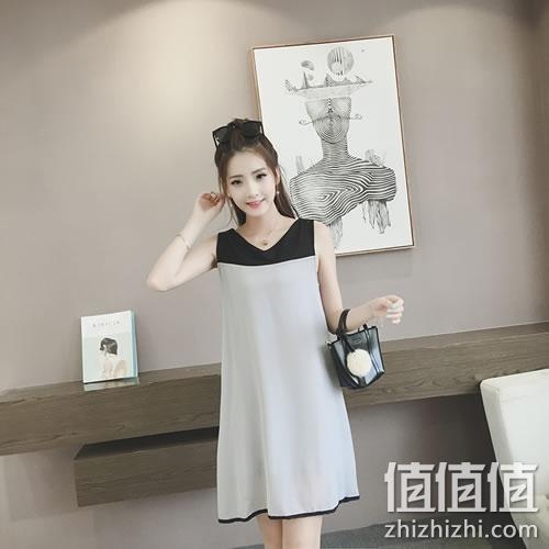 韩版小清新拼色无袖连衣裙