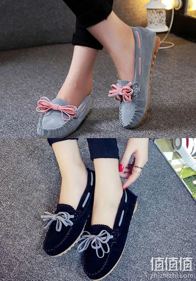 女士豆豆鞋平底单鞋