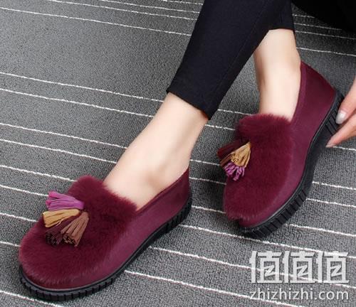 雨蒂女士韩版低帮拼色豆豆鞋